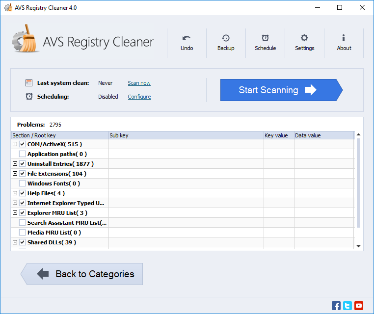 AVS Registry Cleaner. Click To See The Full-size Image