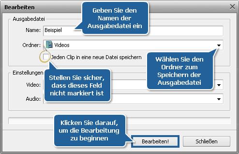 Wie vereinigt man mehrere Videodateien zu einer Datei? Schritt 5