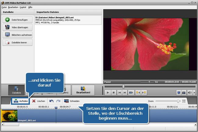 Wie teilt man eine Videodatei mit dem AVS Video ReMaker? Schritt 3