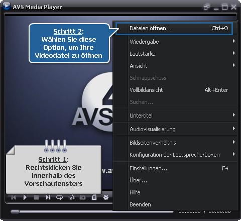Wie spielt man Videodateien mit dem AVS Media Player ab? Schritt 2