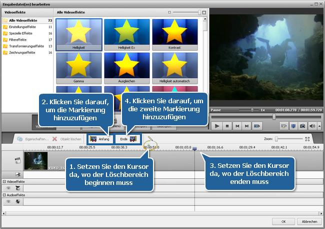 Wie entfernt man ungewünschte Szenen aus dem Video und wandelt es in ein anderes Format um? Schritt 4