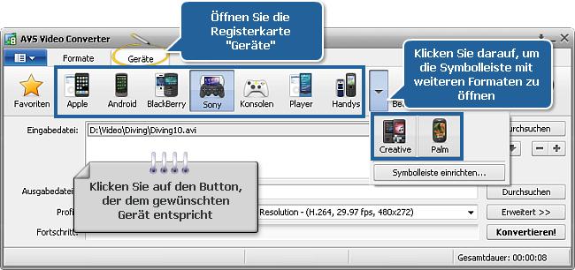 Wie wandelt man Heimvideos für tragbare Videoabspielgeräte um? Schritt 3