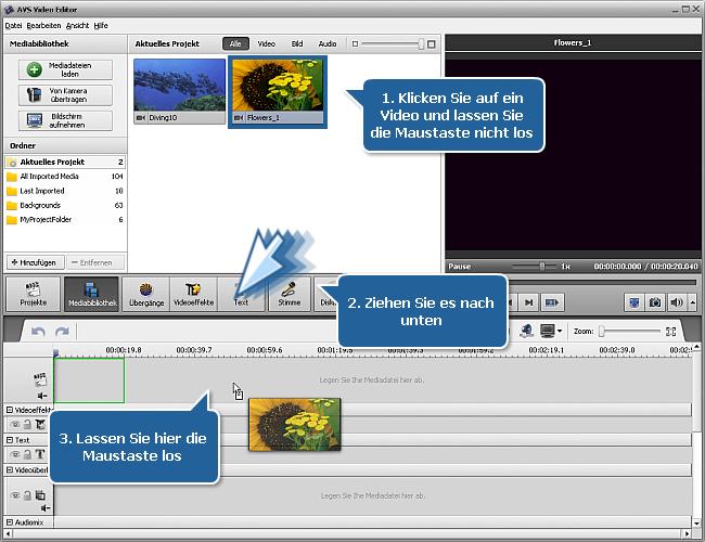 Wie beginnt man die Arbeit mit dem AVS Video Editor? Schritt 3