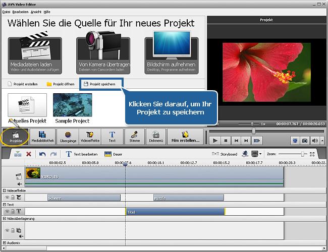 Wie speichert man das Projekt oder Video im AVS Video Editor? Schritt 1