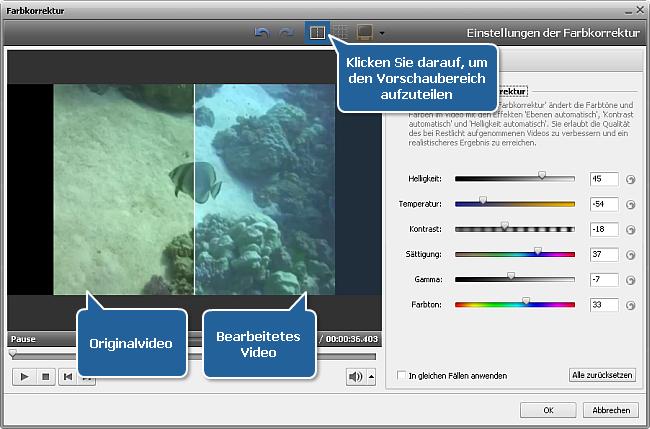 Wie korrigiert man Farbe in Ihrem Video mit dem AVS Video Editor? Schritt 2