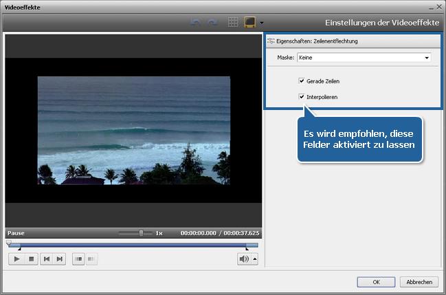 Wie entfernt man Artefakte des Zeilensprungverfahrens im Video mit dem AVS Video Editor? Schritt 3