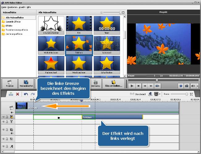 Wie wendet man Videoeffekte im AVS Video Editor an? Schritt 2