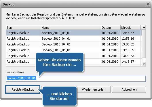 Wie kann man ein Backup von der Windows-Registry mit AVS Registry Cleaner erstellen und sie wiederherstellen? Schritt 3