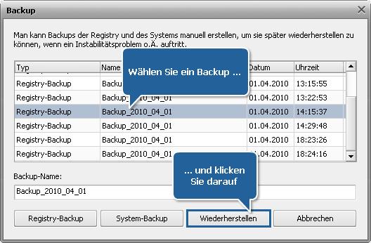 Wie kann man ein Backup von der Windows-Registry mit AVS Registry Cleaner erstellen und sie wiederherstellen? Schritt 5