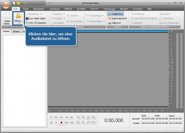Wie teilt man eine Audiodatei in separate Tracks mit dem AVS Audio Editor? Schritt 2