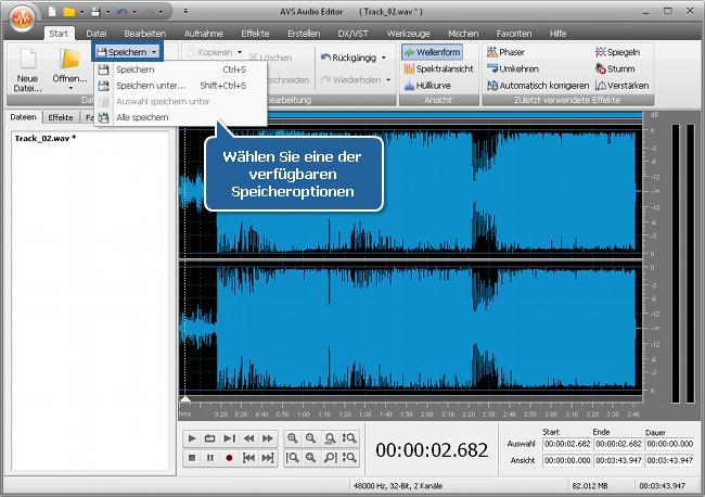 Wie nutzt man Audioeffekte in einer Audiodatei mit dem AVS Audio Editor? Schritt 5
