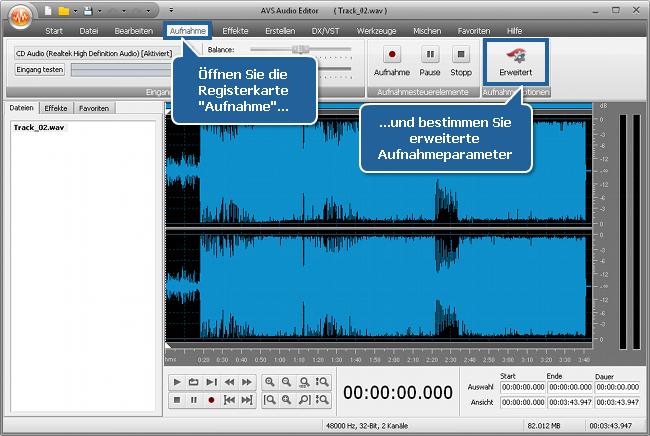 Wie zeichnet man Stimme oberhalb eines Audiotracks mit dem AVS Audio Editor auf? Schritt 3