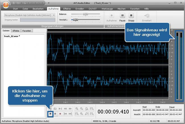 Wie zeichnet man Stimme oberhalb eines Audiotracks mit dem AVS Audio Editor auf? Schritt 5