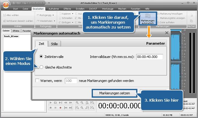 Wie teilt man eine Audiodatei in separate Tracks mit dem AVS Audio Editor? Schritt 3