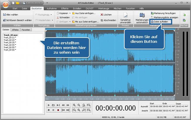Wie teilt man eine Audiodatei in separate Tracks mit dem AVS Audio Editor? Schritt 4