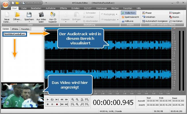 Wie bearbeitet man den Audiotrack Ihrer Heimvideodatei? Schritt 2