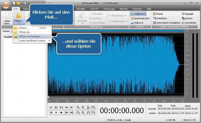 Wie vereinigt man mehrere Audiotracks in eine Datei mit dem AVS Audio Editor? Schritt 3