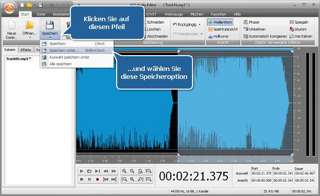 Wie vereinigt man mehrere Audiotracks in eine Datei mit dem AVS Audio Editor? Schritt 4