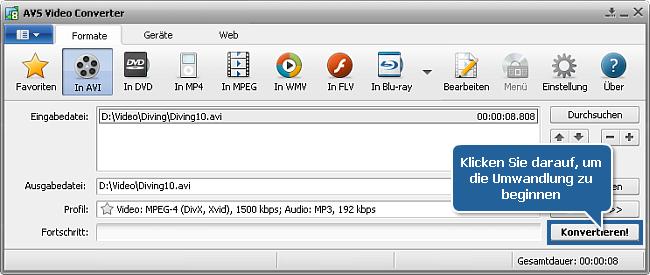 Wie konvertiert man Heimvideos zwischen allen gängigen Formaten? Schritt 5