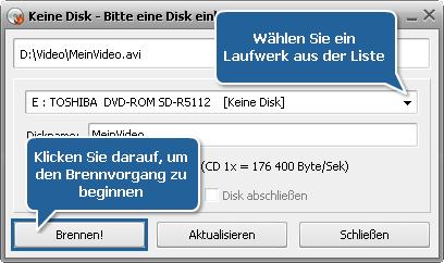 Wie erstellt man eine MPEG-4-kompatible CD (DivX oder Xvid)? Schritt 6