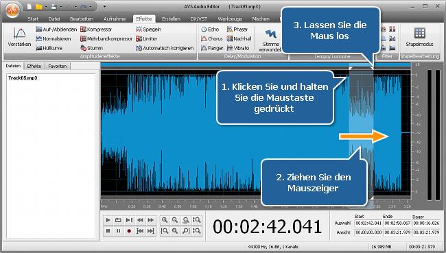 Wie erhöht man die Lautstärke in (einem Bereich von) einer Audiodatei? Schritt 3