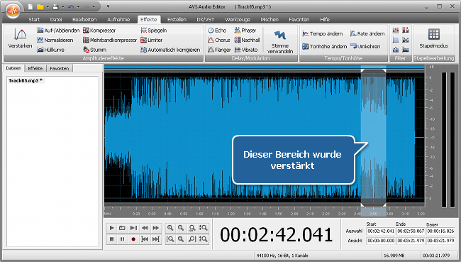 Wie erhöht man die Lautstärke in (einem Bereich von) einer Audiodatei? Schritt 4