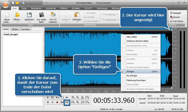Wie kann man mit dem AVS Audio Editor die Audiospur für eine Mediadatei passend machen? Schritt 3