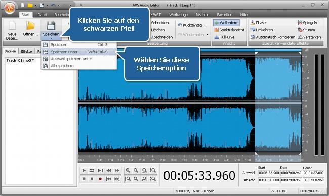 Wie kann man mit dem AVS Audio Editor die Audiospur für eine Mediadatei passend machen? Schritt 4