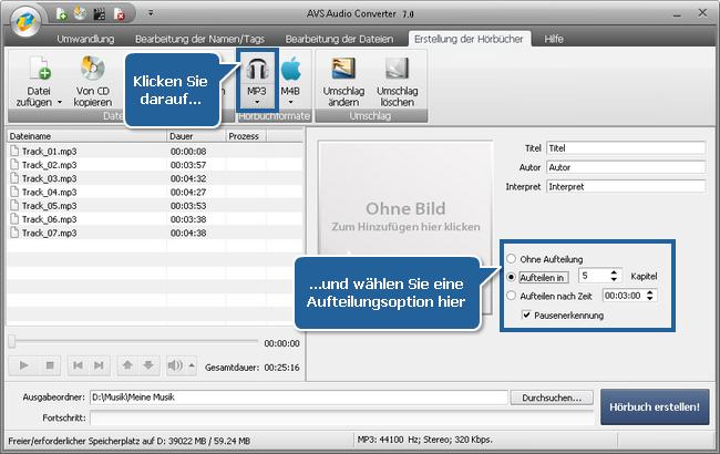 Wie erstellt man Hörbücher mit dem AVS Audio Converter? Schritt 4