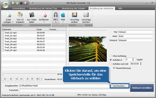 Wie erstellt man Hörbücher mit dem AVS Audio Converter? Schritt 5