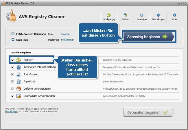 Wie kann man PC-Fehler mit dem AVS Registry Cleaner beheben? Schritt 3