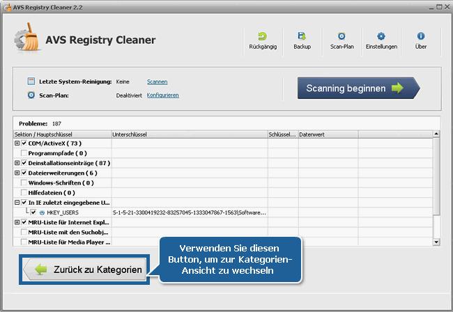 Wie kann man die PC-Registry mit dem AVS Registry Cleaner reinigen? Schritt 4