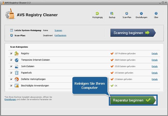 Wie kann man die PC-Registry mit dem AVS Registry Cleaner reinigen? Schritt 6