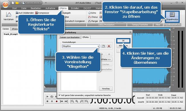 Wie erstellt man einen Klingelton mit dem AVS Audio Editor? Schritt 4