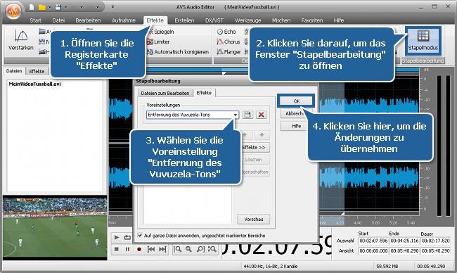 Wie filtert man den Vuvuzela-Lärm mit dem AVS Audio Editor? Schritt 4