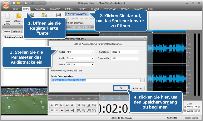 Wie filtert man den Vuvuzela-Lärm mit dem AVS Audio Editor? Schritt 5