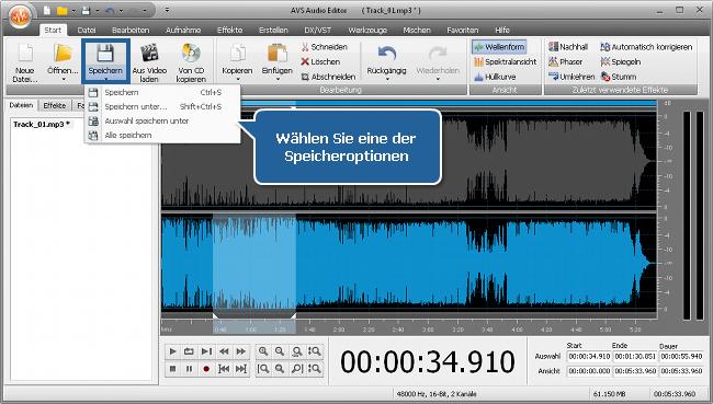 Wie bearbeitet man individuelle Kanälle mit dem AVS Audio Editor? Schritt 6