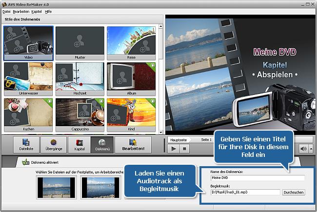 Wie erstellt man ein Diskmenü mit dem AVS Video ReMaker? Schritt 5