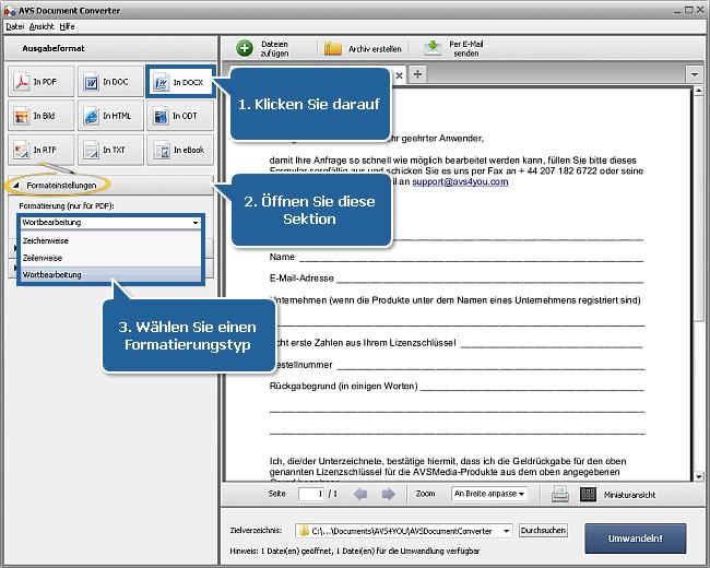 Wie konvertiert man eine PDF-Datei ins DOCX-Format? Schritt 3