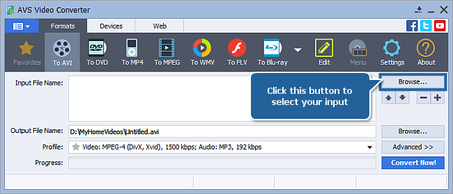 How to convert between all popular video formats? Step 2
