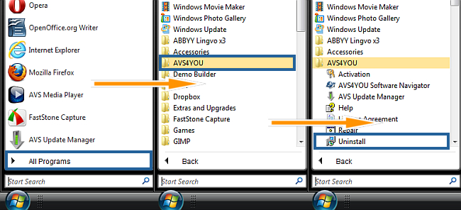 How to uninstall AVS4YOU programs? Step 1
