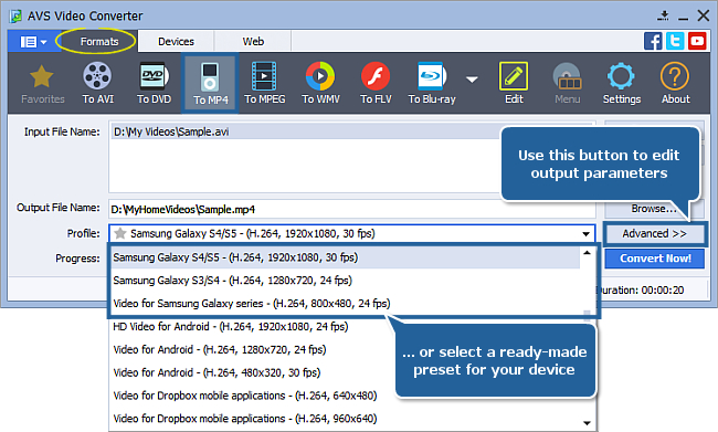 How to convert video to Samsung video MP4 format?