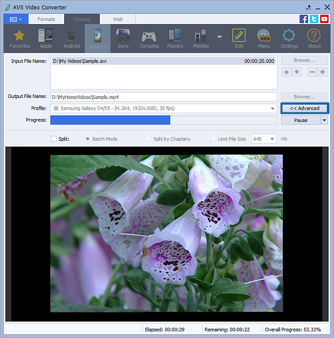 How to convert video to Samsung video MP4 format. Step 5
