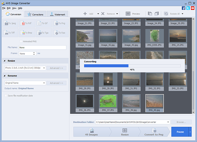 How to resize images automatically using AVS Image Converter? Step 4