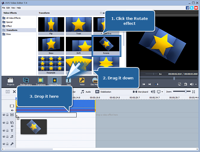 How to rotate your video using AVS Video Editor? Step 1