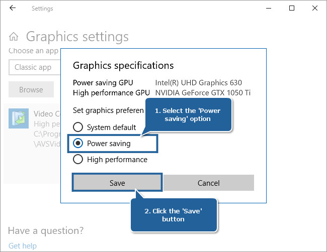 How to set Intel Graphics as a preferred graphics processor for the AVS4YOU applications on Windows 10 starting with v.1803? Step 2