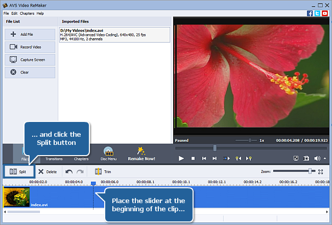 How to split video using AVS Video ReMaker? Step 3