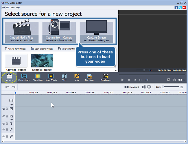 How to start working with AVS Video Editor? Step 2
