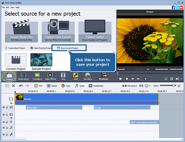 How to save the project and the video in AVS Video Editor? Step 1