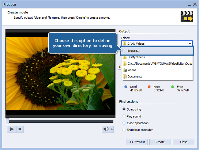 How to save the project and the video in AVS Video Editor? Step 2